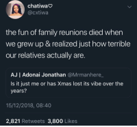 Family, Lost, and How: chatiwa  @cxtiwa  the fun of family reunions died when  we grew up & realized just how terrible  our relatives actually are  AJ | Adonai Jonathan @Mrmanhere_  Is it just me or has Xmas lost its vibe over the  years?  15/12/2018, 08:40  2,821 Retweets 3,800 Likes We were too young to notice the toxicity