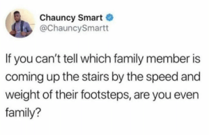 Family, Speed, and Smart: Chauncy Smart  @ChauncySmartt  If you can't tell which family member is  coming up the stairs by the speed and  weight of their footsteps, are you even  family?