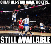 This year's All-Star Weekend is the CHEAPEST this decade, including Rising Star Challenge tix now as low as $24: http://bit.ly/NBAASGTix: CHEAPALL-STAR GAME TICKETS  NBA A  O 2016  ALL STAR TORO  23  @NBAMEMES  STILL AVAILABLE This year's All-Star Weekend is the CHEAPEST this decade, including Rising Star Challenge tix now as low as $24: http://bit.ly/NBAASGTix