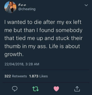 Ass, Cheating, and Life: @cheating  I wanted to die after my ex left  me but than I found somebody  that tied me up and stuck their  thumb in my ass. Life is about  growth  22/04/2018, 3:28 AM  322 Retweets 1.873 Likes  02 Me irl