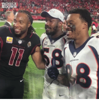 Memes, Respect, and Broncos: CHECK  DOWN  BRONCOs The amount of respect for @LarryFitzgerald in one postgame is incredible. 🙏 https://t.co/HzoVfIAJfn