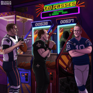 .@TomBrady and @drewbrees are chasing down Peyton Manning's all-time career touchdown record. 👀(via @thecheckdown)  @Patriots   #GoPats   @Saints   #Saints https://t.co/xfVltouxso:  CHECK  DOWN  TD PASSES  HIGH SCORE  PWM  1. 00539  00536  00537  PATRO  18  8.  10  NFL .@TomBrady and @drewbrees are chasing down Peyton Manning's all-time career touchdown record. 👀(via @thecheckdown)  @Patriots   #GoPats   @Saints   #Saints https://t.co/xfVltouxso