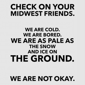 Bored, Friends, and Okay: CHECK ON YOUR  MIDWEST FRIENDS.  WE ARE COLD  WE ARE BORED  WE ARE AS PALE AS  THE SNOW  AND ICE ON  THE GROUND  WE ARE NOT OKAY.