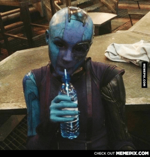 "Karen Gillan takes a water break while filming ""Guardians of the Galaxy""omg-humor.tumblr.com: CHECK OUT MEMEPIX.COM  MEMEPIX.COM Karen Gillan takes a water break while filming ""Guardians of the Galaxy""omg-humor.tumblr.com"