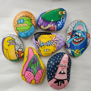 Check out these spongebob rocks I painted.: Check out these spongebob rocks I painted.