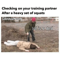 Lol.: Checking on your training partner  After a heavy set of squats  MILLI IIIIIIIIn alISA  @bodybuilding-humour  lolfis unded  lSUded Lol.