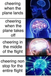 Flight, The Middle, and Non Stop: cheering  when the  plane lands  cheering  when the  plane takes  off  cheering in  the middle  of the flight  cheering non  stop for the  entire flight