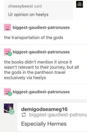 Books, Journey, and Tumblr: cheesybeest said  Ur opinion on heelys  biggest-gaudiest-patronuses  the transportation of the gods  biggest-gaudiest-patronuses  the books didn't mention it since it  wasn't relevant to their journey, but all  the gods in the pantheon travel  exclusively via heelys  biggest-gaudiest-patronuses  demigodseameg16  biggest-gaudiest-patronu  Especially Hermes 24+ Clever Tumblr Posts That Are Not To Be Missed – The Webly