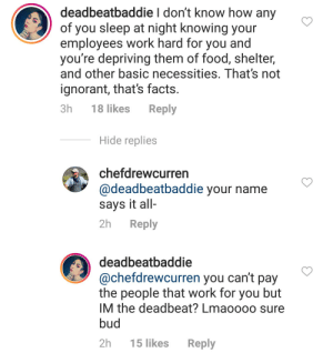 Chef doesn't pay employees their final paycheck and then mocks them on Instagram: Chef doesn't pay employees their final paycheck and then mocks them on Instagram