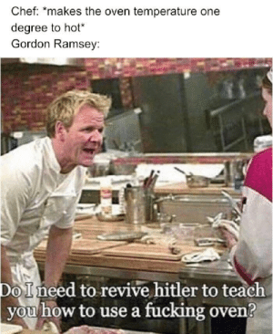 "Dank, Fucking, and Memes: Chef: ""makes the oven temperature  degree to hot*  Gordon Ramsey  Do Ineed to revive hitler to teach  you how to use a fucking oven? I'm sorry Gordon by FrostyTechnet MORE MEMES"