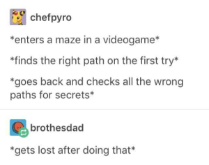 *beelines it straight into a Guardian*: chefpyro  *enters a maze in a videogame*  *finds the right path on the first try*  *goes back and checks all the wrong  paths for secrets*  brothesdad  *gets lost after doing that* *beelines it straight into a Guardian*