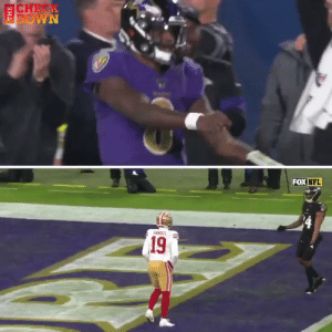 The Ravens and 49ers are trolling each other with each other's celebration dances #SFvsBAL https://t.co/sckhZmyk8f: CHEK  DOWN  FOX NFL  SANDEL  (19 The Ravens and 49ers are trolling each other with each other's celebration dances #SFvsBAL https://t.co/sckhZmyk8f