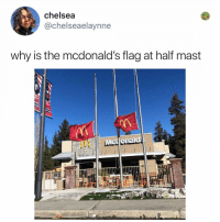 Chelsea, McDonalds, and Memes: chelsea  @chelseaelaynne  why is the mcdonald's flag at half mast Post 1877: RIP grimace