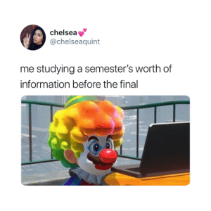 🤡: chelsea  @chelseaquint  me studying a semester's worth of  information before the final 🤡
