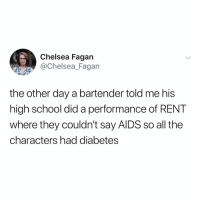 This is a huge slice of y tho: Chelsea Fagan  Chelsea_Fagan  the other day a bartender told me his  high school did a performance of RENT  where they couldn't say AlDS so all the  characters had diabetes This is a huge slice of y tho