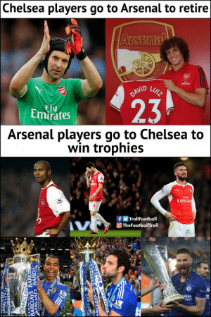 The difference https://t.co/X0Afgs3l9i: Chelsea players go to Arsenal to retire  Arsenal  Emirates  DAVID  LUIZ  23  FIU  Emirates  Arsenal players go to Chelsea to  win trophies  tiates  Fly  Emirate  fTrollFootball  TheFootballTroll  V  REMIER  EAGUE  HAMA  YRES  BARCIAYS  BARCLAYS BARC  BARCLAYS  BARCLA  ARCIAYS  BARCIAYS BARC The difference https://t.co/X0Afgs3l9i