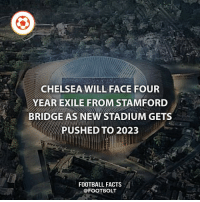 Will probably use Wembley during the renovation - fact chelsea football stamfordbridge @footbolt: CHELSEA WILL FACE FOUR  YEAR EXILE FROM STAMFORD  BRIDGE AS NEW STADIUM GETS  PUSHED TO 2023  FOOTBALL FACTS  @FOOT BOLT Will probably use Wembley during the renovation - fact chelsea football stamfordbridge @footbolt