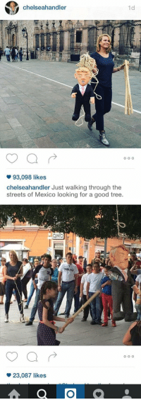 Chelsea, Love, and Streets: chelseahandler  1d  O O O  93,098 likes  Chelsea handler Just walking through the  streets of Mexico looking for a good tree.   OXXO  23,087 likes  a O  O O O I LOVE CHELSEA FOR THIS