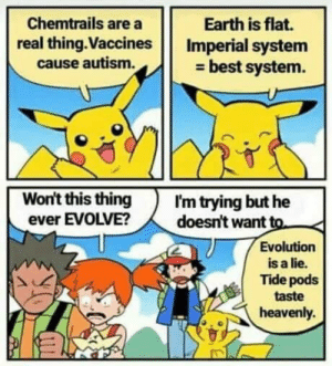 Pika?: Chemtrails are a  real thing.Vaccines Imperial system  Earth is flat.  cause autism.  - best system.  Won't this thingI'm trying but he  ever EVOLVE?doesn't want to  Evolution  is a lie.  Tide pods  taste  heavenly. Pika?