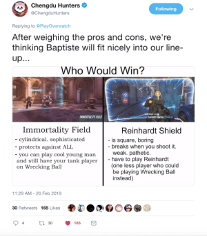 wrecking: Chengdu Hunters  @ChengduHunters  Following  Replying to @PlayOverwatch  After weighing the pros and cons, we're  thinking Baptiste will fit nicely into our line-  Who Would Win?  +29  IMMORTALITY FIELD  GAINED FROM ZENBUG  ABILITY 2  Immortality Field  cylindrical. sophisticated  protects against ALI  you can play cool young man  and still have your tank player  on Wrecking Ball  Reinhardt Shield  is square, boring  breaks when you shoot it.  weak. pathetic.  have to play Reinhardt  (one less player who could  be playing Wrecking Bal  instead)  1:29 AM-26 Feb 2019  30 Retweets 165 LikesO  4  30  165
