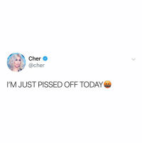 Cher, Memes, and Thank You: Cher  @cher  I'M JUST PISSED OFF TODAY Post 1806: thank you for chering