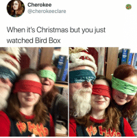 Christmas, Memes, and Girl: Cherokee  @cherokeeclare  When it's Christmas but you just  watched Bird Box  te Post 1853: girl boy