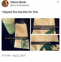 """you know you're trash when you want to delay your family vacation by a day so that you can go to a party and get wasted the day you're supposed to arrive at your beautiful destination: Cherry Bomb  @Connelllsabella  I tipped the barista for this  nd I got to the window and he said """"A Spinach  and Fetty Wap  So I order a """"Spinach and Feta Wrap  17.38 will be ur total""""  7:14 PM Aug 3, 2017 you know you're trash when you want to delay your family vacation by a day so that you can go to a party and get wasted the day you're supposed to arrive at your beautiful destination"""
