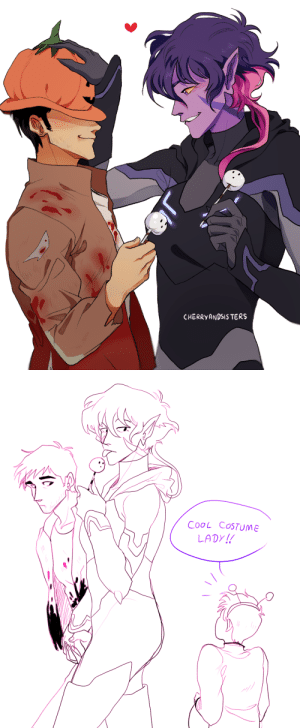 Halloween, Parents, and Saw: CHERRYANDSIS TERS   COoL CoSTUME  LADY! cherryandsisters:  i saw the most adorable headcanon on twitter that keith's parents only went out on dates on halloween bc everyonejust thought krolia was wearing a cool costume