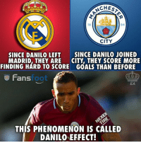 Goals, Memes, and Phenomenon: CHEST  18  94  CITY  SINCE DANILO LEFT  MADRID, THEY ARE  FINDING HARD TO SCORE  SINCE DANILO JOINED  CITY, THEY SCORE MORE  GOALS THAN BEFORE  Fans  foot  EA  THIS PHENOMENON IS CALLED  DANILO EFFECT! Simply Danilo 😂