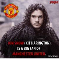CHEST  UNITED  JON SNOW  (KIT HARINGTON)  IS A BIG FAN OF  MANCHESTER UNITED  8FOOTBALL Are you hyped for Game of Thrones Season 7?  Join us for more INTERESTING fact 8Football
