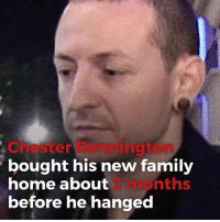 Family, Memes, and Home: Chester Bennington  bought his new family  home about  before he hanged  2 months Chester Bennington bought his family a home just 2 months prior to his suicide. linkinpark chesterbennington tmz