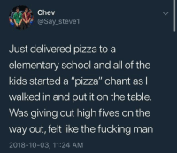 "Fucking, Pizza, and School: Chev  @Say_steve1  Just delivered pizza to a  elementary school and all of the  kids started a ""pizza"" chant as l  walked in and put it on the table.  Was giving out high fives on the  way out, felt like the fucking man  2018-10-03, 11:24 AM Wholesome Pizza"