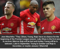 "Jose Mourinho provides the injury update. Pic credit - @ggmu_fans mufc: CHEVROE  CHEVROLET  OGGMU FRNS  Jose Mourinho: ""They (Shaw, Young, Rojo) have no chance for the  beginning of the Premier League season. Luke Shaw is the first one  to recover, Marcos Rojo will be last and Ashley Young will be in  between. Luke is September, Young is October and Rojo is  December, or maybe January."" [ManUtd] Jose Mourinho provides the injury update. Pic credit - @ggmu_fans mufc"