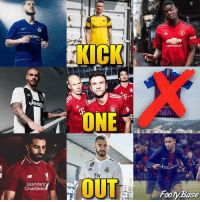 Barcelona, Memes, and Chevrolet: CHEVROLET  p:  Ueep  ice  ONE  Fly  Emira  Fly  Standard  Chartered  Footy Base KICK ONE OUT New Jerseys 🔥 Barcelona is out! ❌ Comment the UGLIEST Jersey! 👇 Follow @footy.base ✅