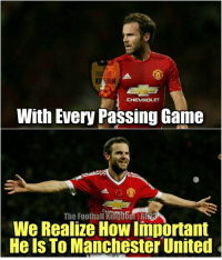 Juan Mata!  Credits: The Football Kingdom: CHEVROLET  With Ever Passing Game  CHEVROLET  The Football Kingdom AM128  We Realize How Important  He Is To Manchester United Juan Mata!  Credits: The Football Kingdom