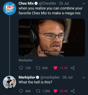The legend himself: Chex Chex Mix  mix when you realize you can combine your  @ChexMix 26 Jul  favorite Chex Mix to make a mega mix  Yeah, this is big brain time.  Markiplier  154  Li 843  13.3K  Markiplier @markiplier 26 Jul  What the hell is this?  tI 1,396  406  25.4K The legend himself