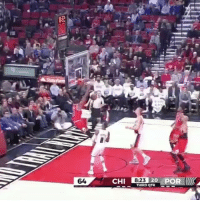 Espn, Memes, and Wshh: CHI 8.23 QTR  POR  20  THIRD DwyaneWade slams it down from an alley-oop pass from JimmyButler! 🏀😳 @ESPN @DwyaneWade @JimmyButler ChicagoBulls vs. PortandTrailBlazers NBA WSHH