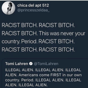 Bitch, Dank, and Memes: chica del apt 512  @princesszeldaa_  RACIST BITCH. RACIST BITCH  RACIST BITCH. This was never your  country. Period. RACIST BITCHH  RACIST BITCH. RACIST BITCH  Tomi Lahren @TomiLahren  ILLEGAL ALIEN. ILLEGAL ALIEN. ILLEGAL  ALIEN. Americans come FIRST in our own  country. Period. ILLEGAL ALIEN. ILLEGAL  ALIEN. ILLEGAL ALIEN The caucus mountains called, they said you could go back Tango Lemon. by lyssaNwonderland MORE MEMES