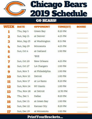 2018 Chicago Bears Schedule & Results | The Football Database