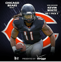Kevin White, the newest member of the @chicagobears! NFLDraft: CHICAGO  BEARS  WIDE RECEIVER  KEVIN  SELECT  WHITE  RD 1 PICK 7  br PRESENTED BY verizon Kevin White, the newest member of the @chicagobears! NFLDraft