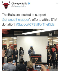 Chicago, Chicago Bulls, and College: Chicago Bulls  achicagobulls  The Bulls are excited to support  Cachancetherapper  s efforts with a $1M  donation!  #SupportCPS #For TheKids  son College and Career Prepa  ATE, GRA The bulls doing great things 💯 https://t.co/Y8Z5fGgtMh