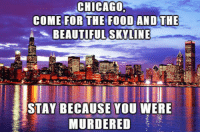 Beautiful, Chicago, and Skyline: CHICAGO  COME FOR  BEAUTIFUL SKYLINE  STAY BECAUSE YOU WERE  MURDERED <p>Come Visit Chicago.</p>