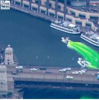 Chicago, Memes, and News: Chicago,IL  FOX  NEWS Take a look at the dyeing of the river for StPatricksDay in Chicago.