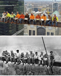 """Chicago Local #1 Iron Workers remake the iconic """"Lunch atop a Skyscraper"""" photo from 1932. Illinois State AFL - CIO and Chicago Memes: Chicago Local #1 Iron Workers remake the iconic """"Lunch atop a Skyscraper"""" photo from 1932. Illinois State AFL - CIO and Chicago Memes"""