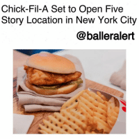 """9/11, Anaconda, and Apple: Chick-Fil-A Set to Open Five  Story Location in New York City  @balleralert Chick-Fil-A Set to Open Five Story Location in New York City-blogged by @thereal__bee ⠀⠀⠀⠀⠀⠀⠀⠀⠀ ⠀⠀ In NYC, it's either go big or go home. So in true New York fashion, ChickfilA has announced that they will be opening their biggest restaurant right in the Big Apple. ⠀⠀⠀⠀⠀⠀⠀⠀⠀ ⠀⠀ The fast food chain revealed Monday, that their third N.Y.C. location, will be the largest location of their 2,100 restaurants across the country. ⠀⠀⠀⠀⠀⠀⠀⠀⠀ ⠀⠀ The restaurant will be located right in the middle of the city's Financial District. With 12,000 sq.-ft., the restaurant will consist of five levels, with floor-to-ceiling windows and rooftop seating for customers to take in the view of Manhattan. ⠀⠀⠀⠀⠀⠀⠀⠀⠀ ⠀⠀ According to design manager Nathaniel Cates, while the location will be the franchise's tallest location, it will be quite narrow at only 15-ft. wide, but will pay homage to the events of 9-11 in a major way. ⠀⠀⠀⠀⠀⠀⠀⠀⠀ ⠀⠀ """"With the restaurant sitting under half a mile from Ground Zero and the 9-11 Memorial, Cates' team wanted to respectfully pay homage to the significance of the location,"""" reads the press release. """"They drew designs for the front of the building to be stacked fully with glass windows, with elements built into the façade that give a subtle impression of the Twin Towers – one on each side of the restaurant. It's a feature that acknowledges the significance of location."""" ⠀⠀⠀⠀⠀⠀⠀⠀⠀ ⠀⠀ The doors of the new location are slated to open early next year."""