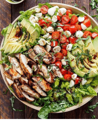 "Fresh, Memes, and Avocado: CHICKEN AVOCADO CAPRESE SALAD - Balsamic Chicken Avocado Caprese Salad is a quick and easy meal in a salad! Seared chicken, fresh mozzarella and tomato halves, creamy avocado slices and shredded basil leaves are drizzled with an incredible balsamic dressing that doubles as a marinade for the ultimate salad! - INGREDIENTS Marinade-Dressing: ¼ cup (60 mL) balsamic vinegar 2 tablespoons (30 mL) olive oil 2 teaspoons brown sugar 1 teaspoon minced garlic 1 teaspoon dried basil 1 teaspoon salt Salad: 4 chicken thigh fillets, skin removed (no bone)* 5 cups Romaine (or cos) lettuce leaves, washed and dried 1 avocado, sliced 1 cup cherry or grape tomatoes, sliced ½ cup mini mozzarella - bocconcini cheese balls ¼ cup basil leaves, thinly sliced Salt and pepper, to season Whisk marinade ingredients together to combine. Place chicken into a shallow dish; pour 4 tablespoons of the dressing - marinade onto the chicken and stir around to evenly coat chicken. Reserve the untouched marinade to use as a dressing. Heat about one teaspoon of oil in a large grill pan or skillet over medium-high heat and grill or sear chicken fillets on each side until golden, crispy and cooked through. Once chicken is cooked, set aside and allow to rest. Slice chicken into strips and prepare salad with lettuce, avocado slices, tomatoes, mozzarella cheese and chicken. Top with basil strips; drizzle with the remaining dressing; season with salt and pepper; serve."" By @cafedelites"