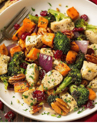 """Apple, Fall, and Memes: """"Chicken Broccoli and Sweet Potato Sheet Pan Dinner 1 large sweet potato, peeled and diced into 3-4-inch cubes (3 cups) 4 Tbsp olive oil, divided 1 1-2 lbs boneless skinless chicken breasts, diced into pieces (about 1 1-4-inches, keep them close to the same size so they all cook even) 3 1-2 cups small broccoli florets 1-2 of a medium red onion, diced into chunks 3 cloves garlic, minced 3-4 tsp of each dried thyme, sage, parsley and rosemary 1-8 tsp nutmeg Salt and freshly ground black pepper 1-2 cup pecans, whole or roughly chopped 1-3 cup dried cranberries Directions Preheat oven to 400 degrees. Place sweet potatoes in a mound on a rimmed 18 by 13-inch baking sheet, pour 1 Tbsp over top and toss to evenly coat. Spread into an even layer and roast in preheated oven for 15 minutes (meanwhile chop and prep remaining ingredients). Remove sweet potatoes from oven, add chicken pieces, broccoli florets, and red onion around sweet potatoes (just placing everything randomly). Sprinkle with garlic and drizzle everything with remaining 3 Tbsp olive oil (focusing mostly on the broccoli so it doesn't dry) and toss with a spatula to evenly coat. Sprinkle evenly with thyme, sage, parsley, rosemary and nutmeg and about 1 tsp salt and 1-2 tsp pepper. Toss again to evenly coat with seasonings and spread out evenly (try not to overlap chicken pieces). Return to oven and roast about 16 - 20 minutes longer, tossing once halfway through, until chicken registers 165 degrees in center. Toss in pecans and cranberries. Serve immediately (preferably with a glass full of apple cider, it's the perfect pairing and completes this fall meal)."""" By @cookingclassy"""