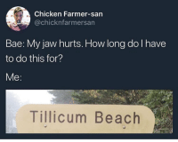 Bae, Dank, and Beach: Chicken Farmer-san  @chicknfarmersan  Bae: My jaw hurts. How long do l have  to do this for?  Me  Tillicum Beach Damper than a panther