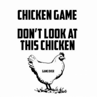Chicken: CHICKEN GAME  DON'T LOOK AT  THIS CHICKEN  GAME OVER