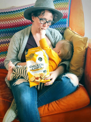 Hungry, Instagram, and Love: CHICKEN  Hip What were your pregnancy cravings and what are your favorite breastfeeding snacks?  I love when toddlers figure out that mamas eat too and want to feed you while they get boob. I feed you, you feed me? Ok!  Specially if it is chicken and waffles chips. 😂  This is a pregnant person's dream come true. And the hungry breastfeeding parent's lifesaver. April Fool's is over, you know this is no joke!  (Also, NOT a pregnancy announcement)  ***Giveaway info below***.  Chicken and waffles chips with 7g of protein per serving (15 chips). These are great for anyone who struggles to get enough protein in (and is not vegan).  Ingredients: chicken, tapioca flour, coconut oil, black pepper, garlic powder, maple sugar, tapioca starch, sea salt, natural flavor, cinnamon.  I met this brand last month at Expo West Natural Products Expo and was so impressed these were safe even for me with my corn allergy. Bonus: they're a great protein boost! What really sealed it for me was that they don't taste weird, in fact, they're delicious!  It's not a surprise either, we got to meet the team behind Wilde Brands and first, they loved the name of The Leaky Boob and totally support what we're doing (yes, I did stand at their booth dishing with a bunch of guys about breastfeeding) and it didn't surprise us that such great people make such a great and creative product.  Which is why we're giving away 12 bags (3 bags of their 4 most popular flavors)to 3 winners. A total value of $180 worth of chips! Breastfeeding or pregnant or just loving the sound of chicken and waffle chips, this is open to anyone in the USA.  To be entered... you have to go to The Leaky Boob Instagram, it is impossible to enter here! Sorry! Here's the link though: http://tinyurl.com/y4zzko6n  Still:  Comment below and tell us your pregnancy craving and/or favorite snack for breastfeeding hunger. If you have a pic of your little one feeding you while you're feeding them, we'd love to see!